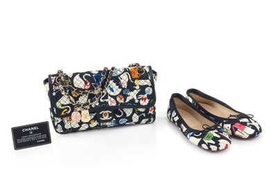 CHANEL | PRINTED CANVAS AND GOLD-TONE METAL CLASSIC SHOULDER BAG AND MATCHING PAIR OF FLATS