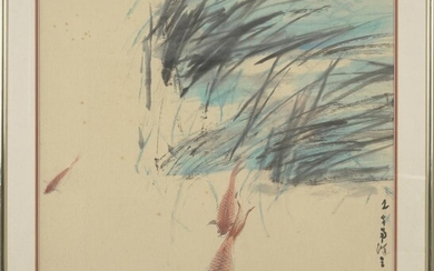 CHEN WEN HSI Singapore (1906-1991) Untitled (carp) Ink and watercolour on paper