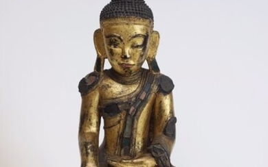 Carving - Gilt lacquered wood - Buddha - Burma - Mid 20th century