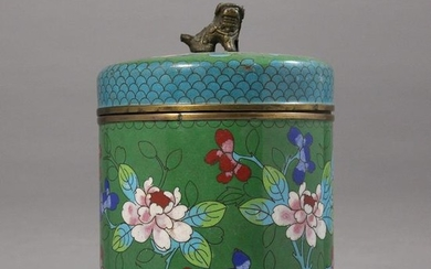 Chinese Cloisonne Covered Jar with Foo Dog Finial Top