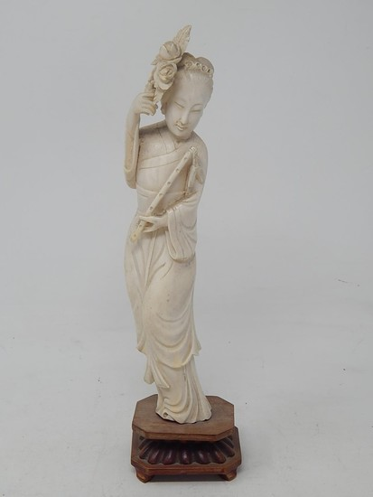 Chinese Meji Period Ivory Figure on Wooden Stand: Height 28c...