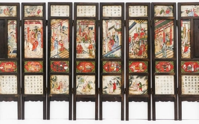 Chinese Qing Marble Decorated Rosewood 8-Panel Screen