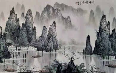 Chinese ink painting on paper - Rice paper - 《白雪石-千峰竞秀》Made after Bai Xueshi - China - Late 20th century