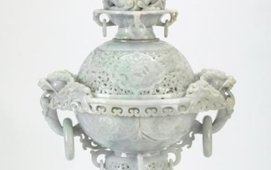 "Chinese lavender and celadon jade dragon censer, 20""h"