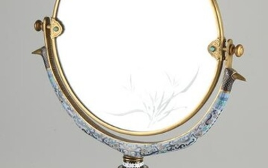 Chinese or Japanese cloisonn&#233 vanity mirror with