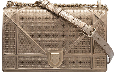 Christian Dior Champagne Metallic Cannage Calfskin Leather Diorama Bag...