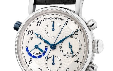 Chronoswiss, Ref. CH 7420 A fine platinum chronograph wristwatch with date, day and night indication, guarantee and presentation box