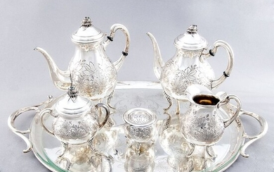 Coffee and tea service - Law 916 - PASGORCY - 3.570 gr. de plata - Spain - First half 20th century