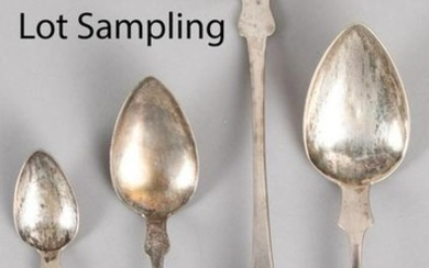 Coin silver spoons, mostly E. Pratt, 28 ozt.