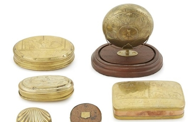 Collection of six brass tobacco or snuff boxes English...