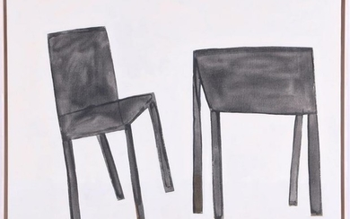 Composition with table and chair, canvas dated 1999