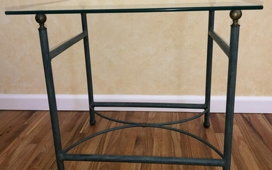 Contemporary Cast Iron Glass Top Side Table