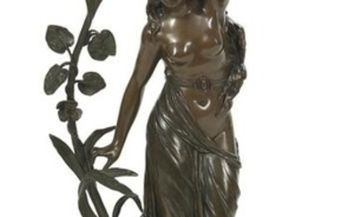 Continental Patinated Bronze of a Maiden