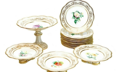 Continental Porcelain Hand Painted Dessert Set for 10