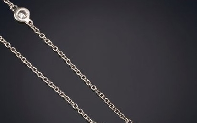 DIAMOND NECKLACE. 18K white gold mount. Total weight...