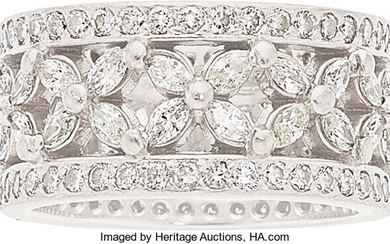 Diamond, Platinum Eternity Ring The eternity ring features marquise...