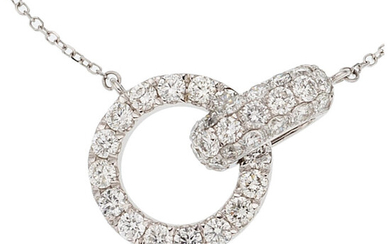 Diamond, White Gold Necklace, Odelia The necklace features full-cut...