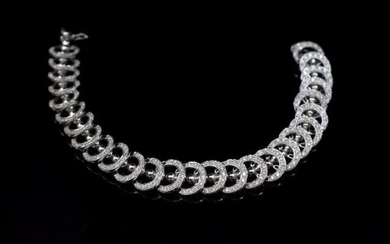Diamond and 18ct white gold night and day bracelet with arti...