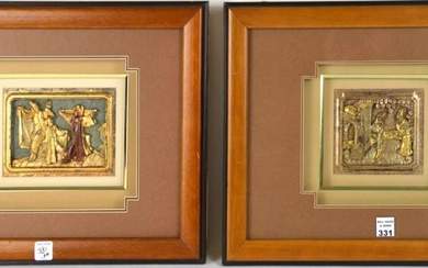 EARLY CHINESE GILT CARVINGS MOUNTED IN FRAMES ONE WITH