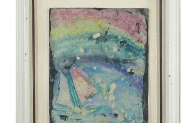 EUNI, Sailboat in Abstract Watercolor Painting