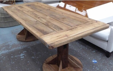 FARMHOUSE DINING TABLE, rustic rectangular top on twin pedes...