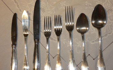 FIsh set for 6, Forks, Spoons, Tea Spoons (48) - Silverplate