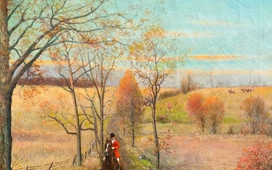 FOX HUNT PAINTING BY S. R. WRIGHT