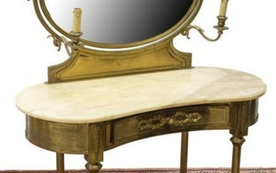 FRENCH LOUIS XVI STYLE ONYX-TOP BRASS VANITY TABLE