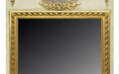 FRENCH ROCOCO STYLE PARCEL GILT TRUMEAU MIRROR