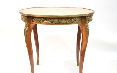 FRENCH STYLE INLAID FOYER TABLE WITH BRONZE