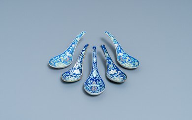 Five Chinese blue-ground spoons, incl. a pair Tongzhi mark and of the period
