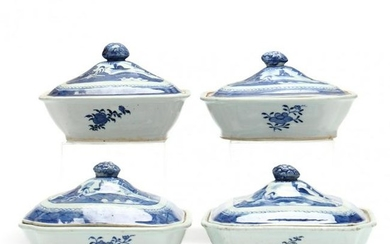 Four Canton Blue and White Porcelain Covered Entree