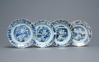 Four Chinese blue and white kraak porcelain 'deer'...