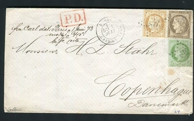 France 1873 - Rare letter from Paris bound for Copenhagen (Denmark) with the No. 53, 56 & 59 stamps