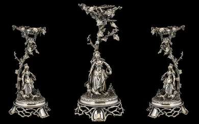 French 19thC Large and Impressive Figural Silver Plated Cent...