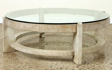 GLASS TOP PARCHMENT COVERED COFFEE TABLE C.1960