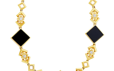 Gold, Black Onyx and Diamond Chain Necklace
