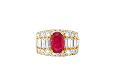 Gold, Ruby and Diamond Ring