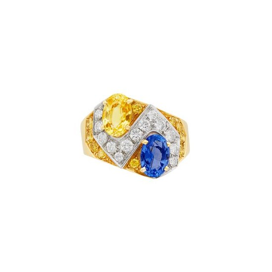 Gold, Sapphire, Yellow Sapphire, Diamond and Yellow Diamond Ring