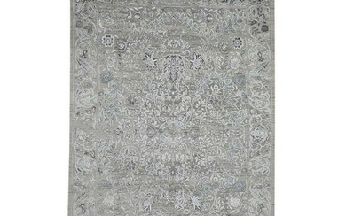 Grey Transitional Kashan Design with Wool and Silk Hand