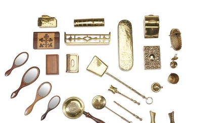 Group of miniature brass and wood household items 19th/20th...