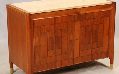 HERITAGE CARVED WOOD MARBLE TOP CABINET 40 30 19