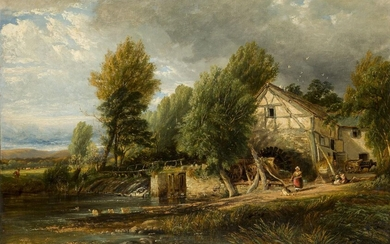 Henry Jutsum, British 1816-1869- Tranquil river landscape with figures by...