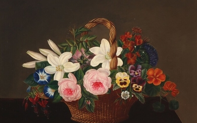 I. L. Jensen, school of, first half of the 19th century: Still life with a colourful bouquet of flowers in a basket. Unsigned. Oil on canvas. 42×53 cm.