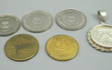 Interesting Collection of Tokens and a Silver Pendant Issued by the Israel Coins and Medals Corp.