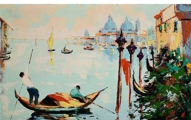 "Italian School ""Gondolier"" oil on canvas"