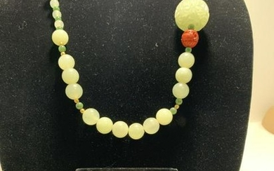 JADE AND CINNABAR NECKLACE AND EARRING SET