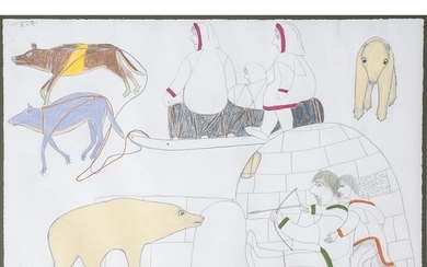 Janet Kigusiuq (Inuit, 1926-2005) Colored Pencil on Paper, From the Collection of William Rose, Illinois