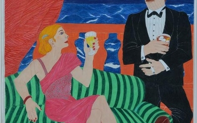 John Bostick (SF 20th c), Painted Collage, Figures