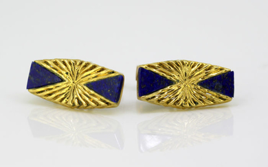 Kutchinsky Yellow gold - Vintage 18K Yellow Gold and Lapis Lazuli Cufflinks